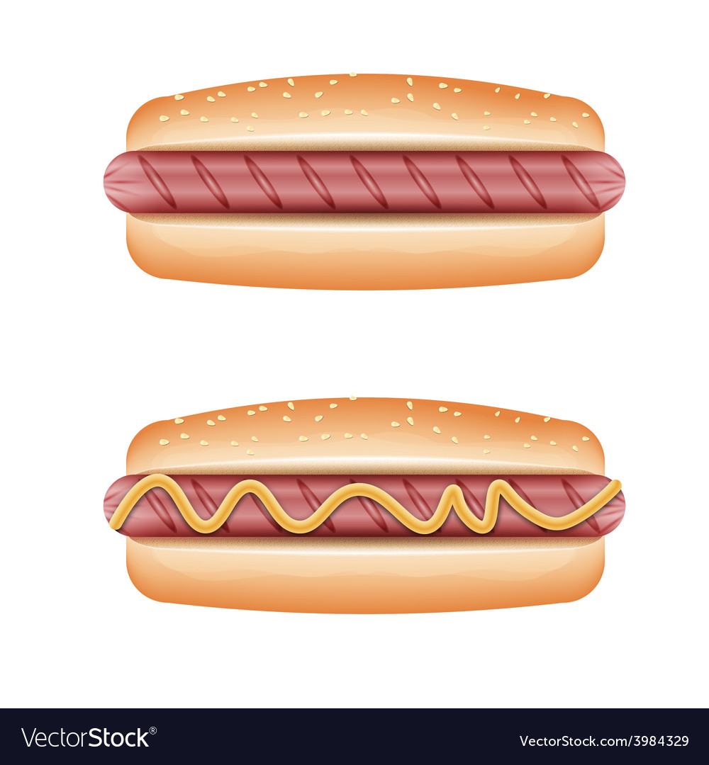 Hot dog on white background vector | Price: 1 Credit (USD $1)