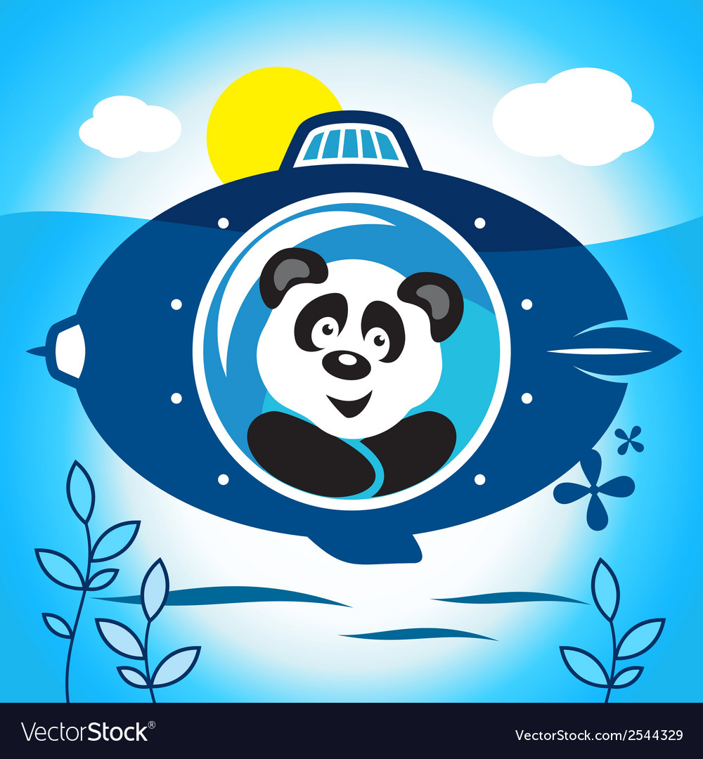 Panda on a submarine vector | Price: 1 Credit (USD $1)