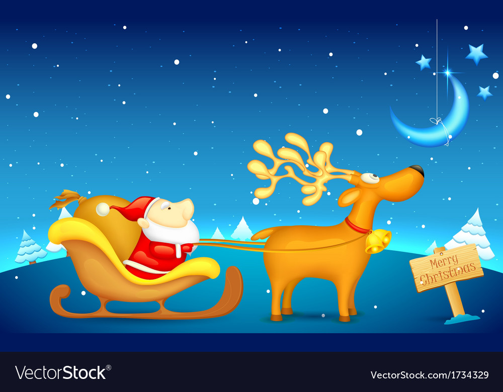 Santa claus riding in sledge on christmas vector | Price: 1 Credit (USD $1)