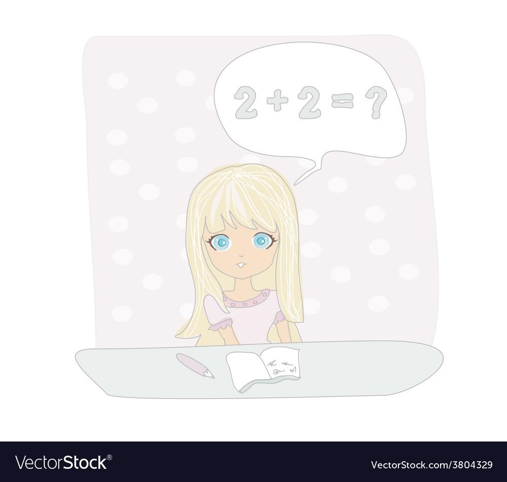 School little girl doing homework vector | Price: 1 Credit (USD $1)