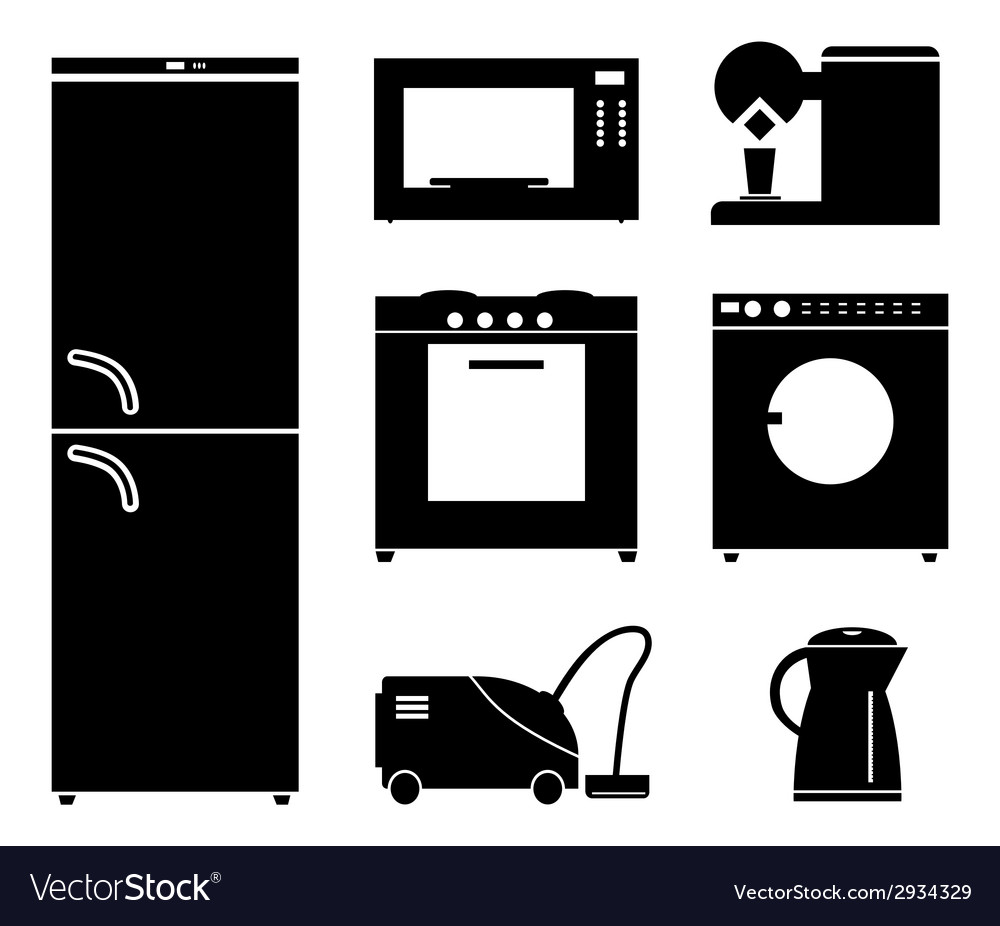 Set of black icons of household appliances vector | Price: 1 Credit (USD $1)