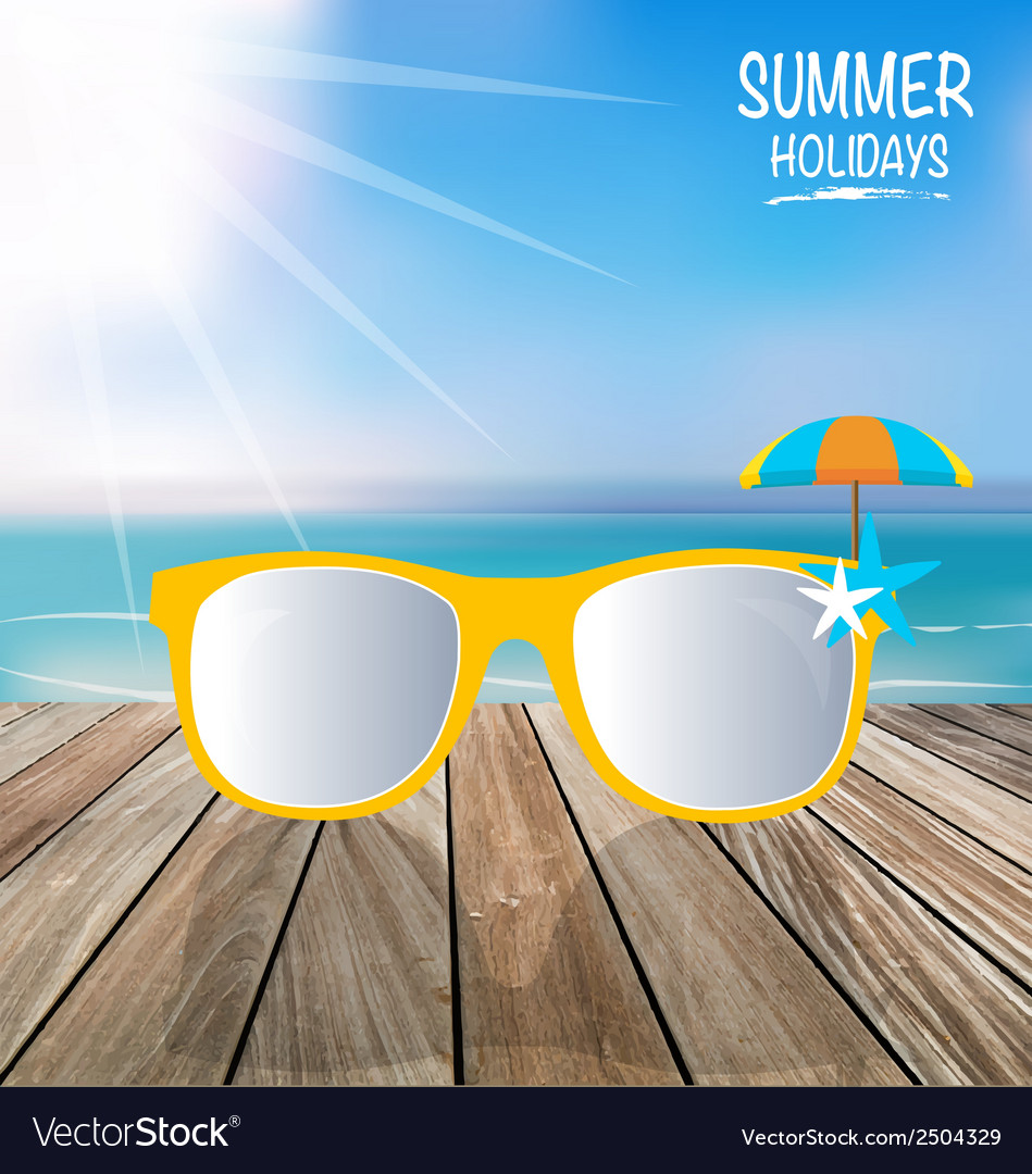 Summer holiday background sunglassess on wood vector | Price: 1 Credit (USD $1)