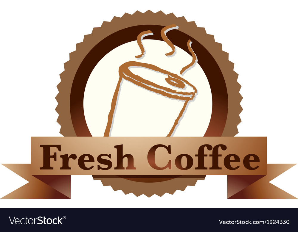 A fresh coffee label with a disposable coffee vector | Price: 1 Credit (USD $1)