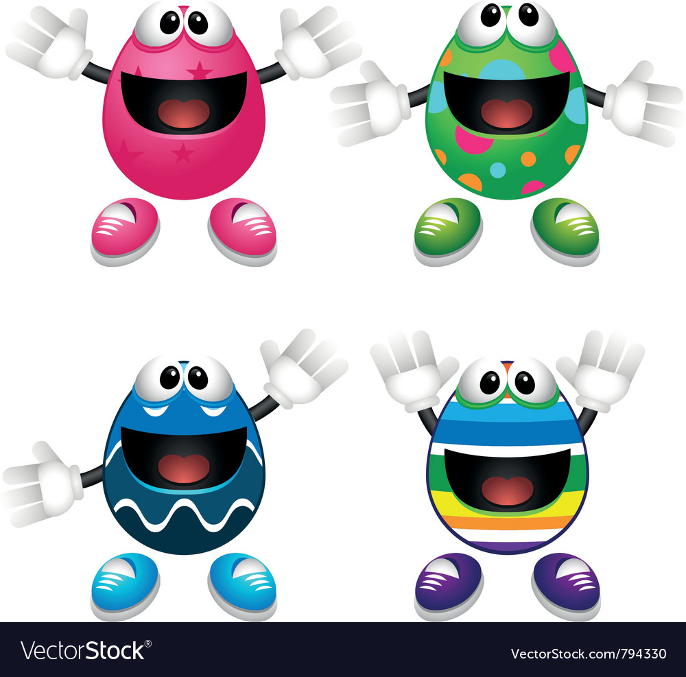 Easter egg mascots vector | Price: 1 Credit (USD $1)
