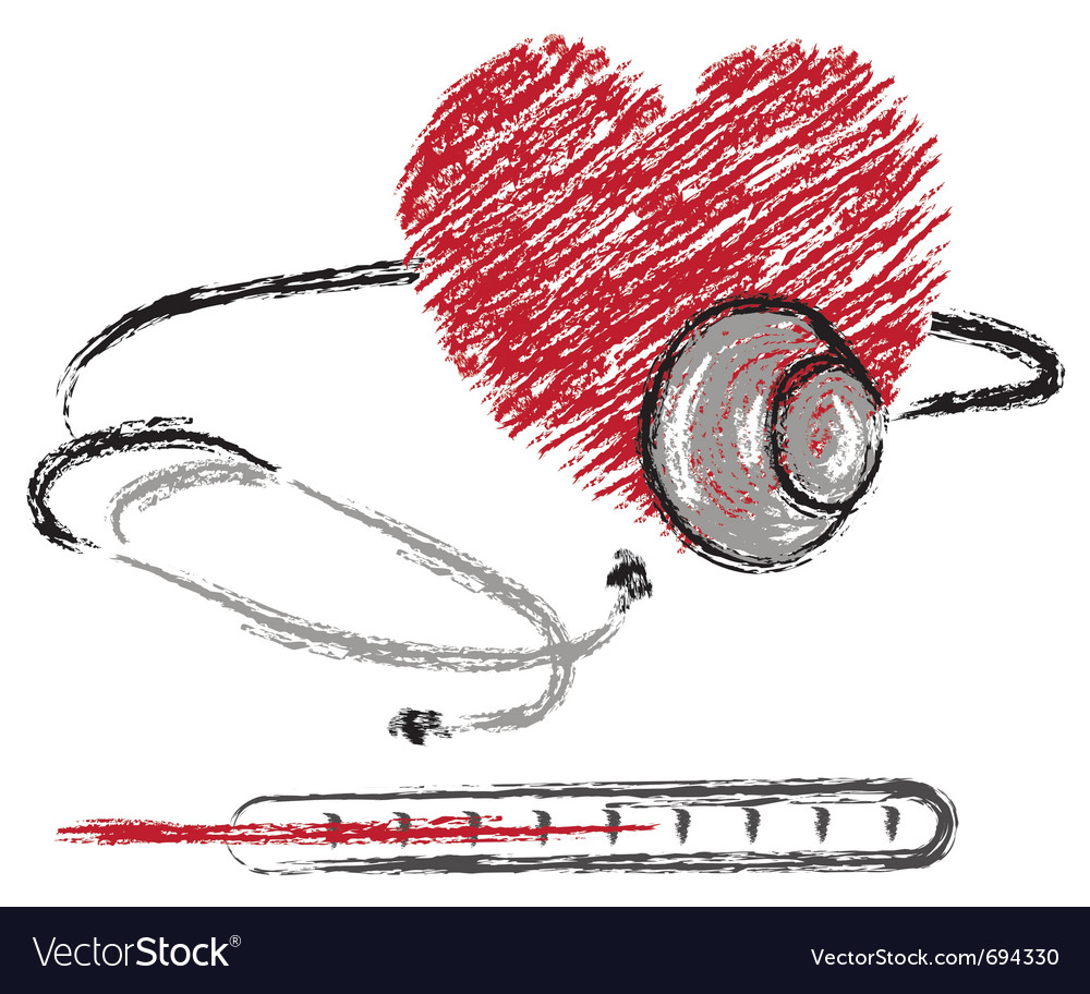 Heart stethoscope and thermomete vector | Price: 1 Credit (USD $1)