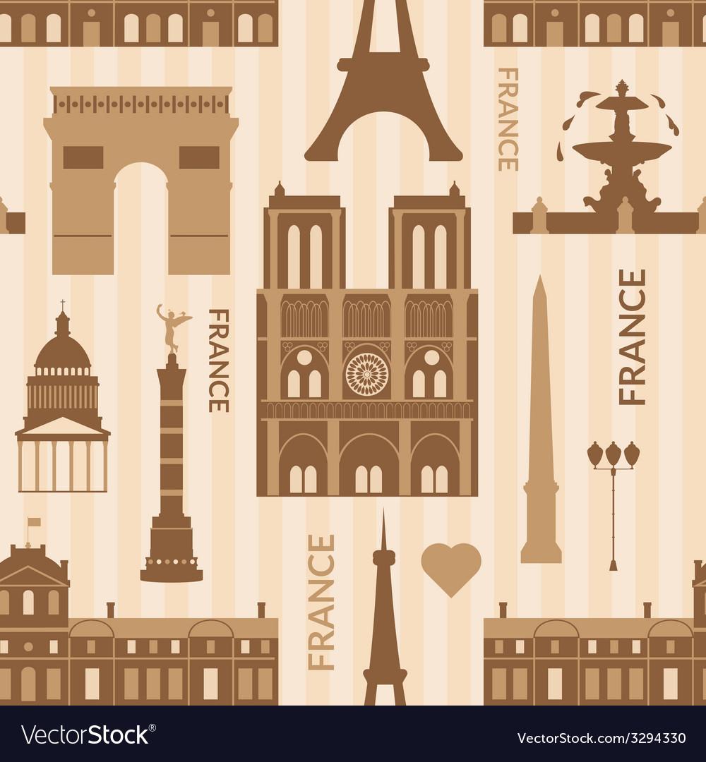 Landmarks of paris monochrome seamless pattern vector | Price: 1 Credit (USD $1)