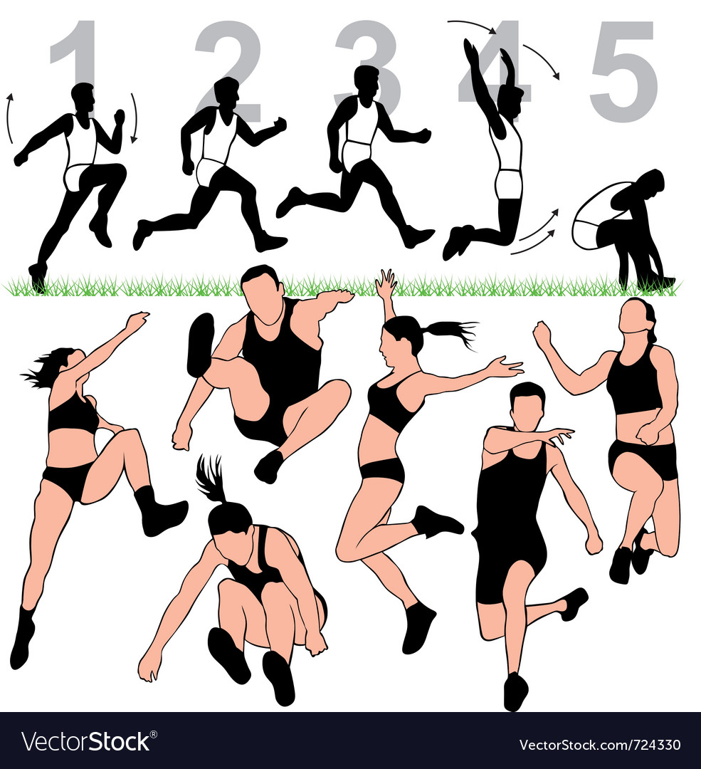 Long jump silhouettes set vector | Price: 1 Credit (USD $1)