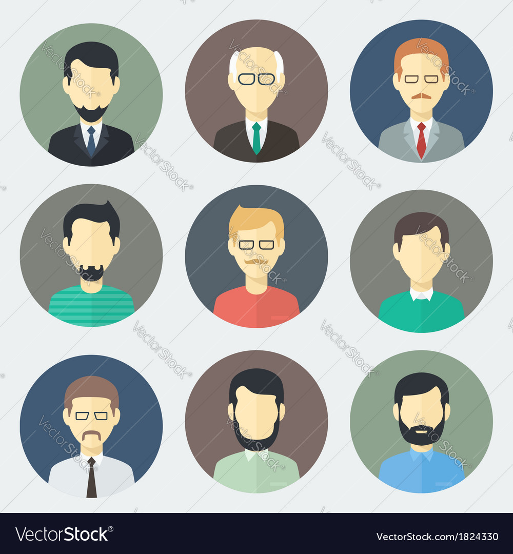 Male faces icons set vector | Price: 1 Credit (USD $1)
