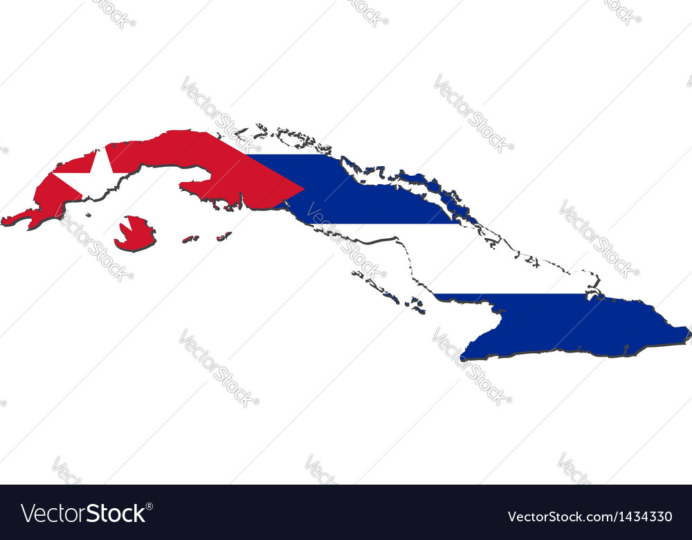 Map of cuba with national flag vector | Price: 1 Credit (USD $1)