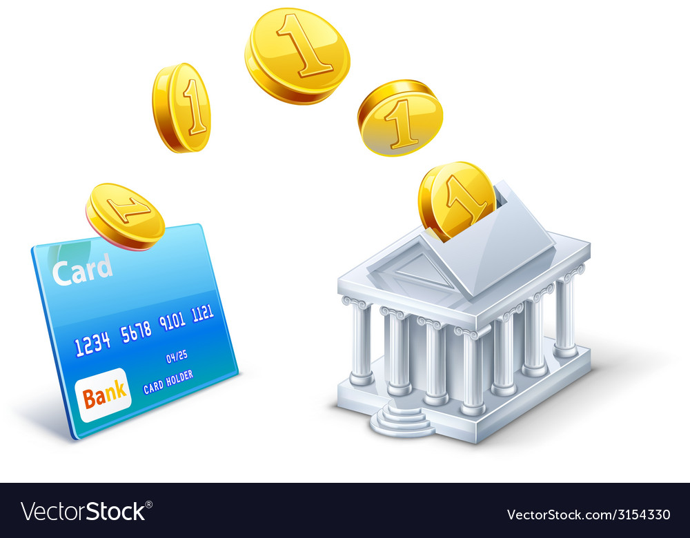 Money transfer between card and bank vector | Price: 1 Credit (USD $1)