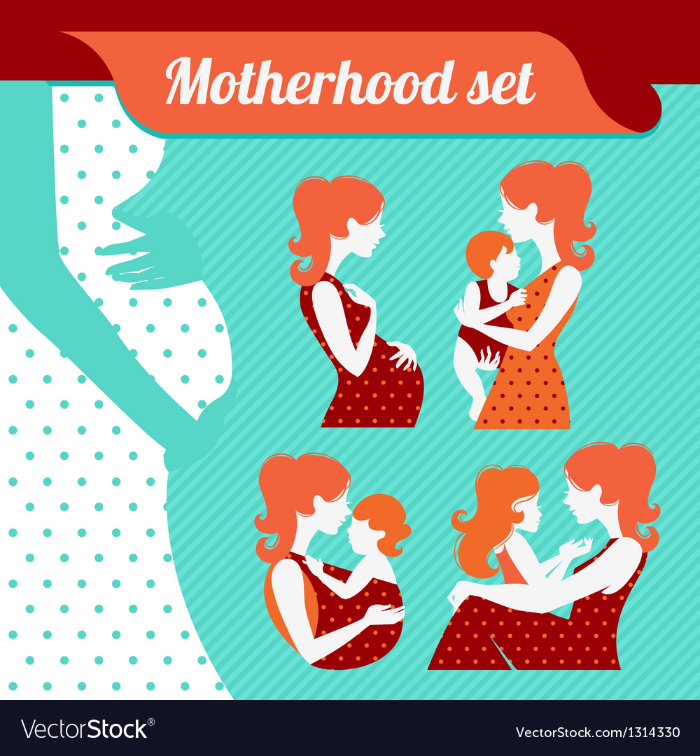 Motherhood set silhouettes of mother and baby vector | Price: 1 Credit (USD $1)