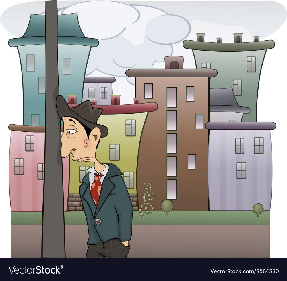 Sad man cartoon vector   Price: 3 Credit (USD $3)