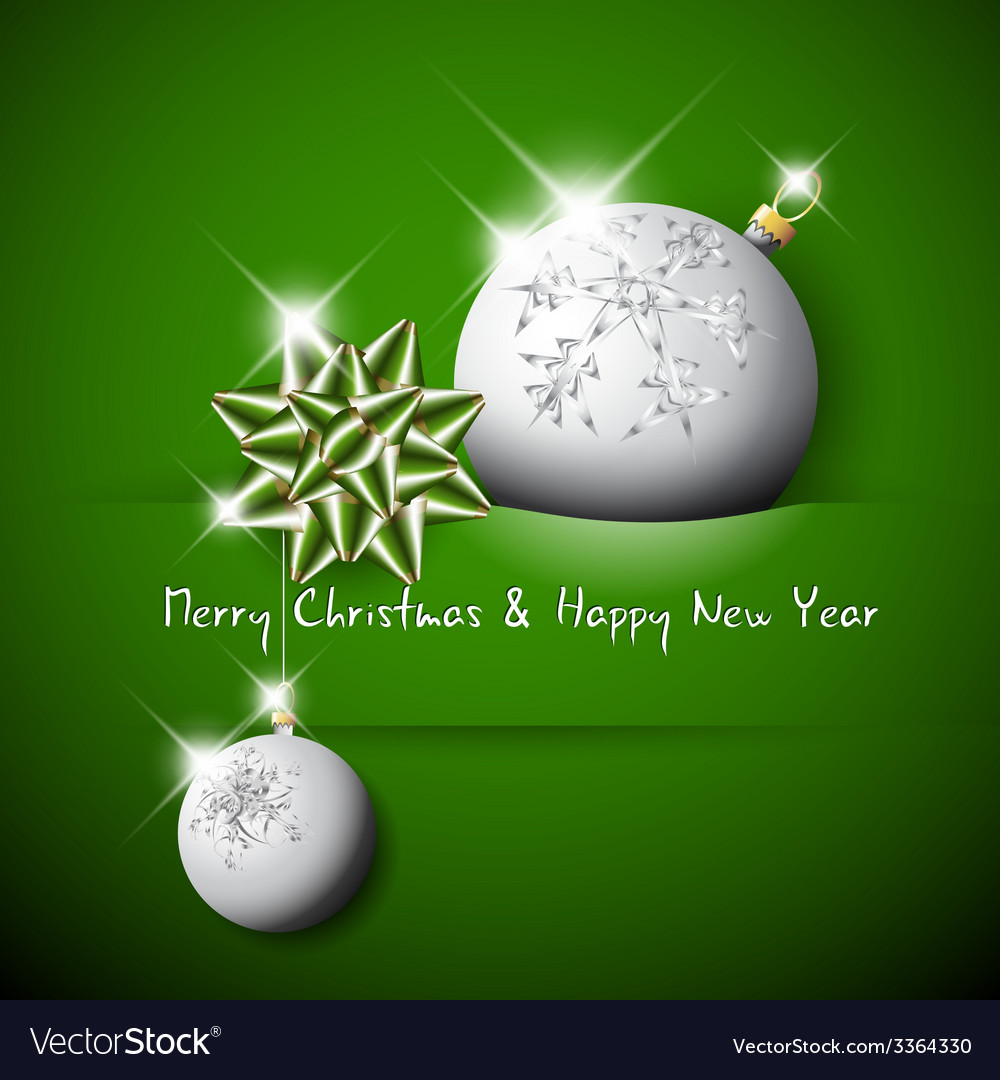 Simple green christmas card with bow and bauble vector | Price: 1 Credit (USD $1)