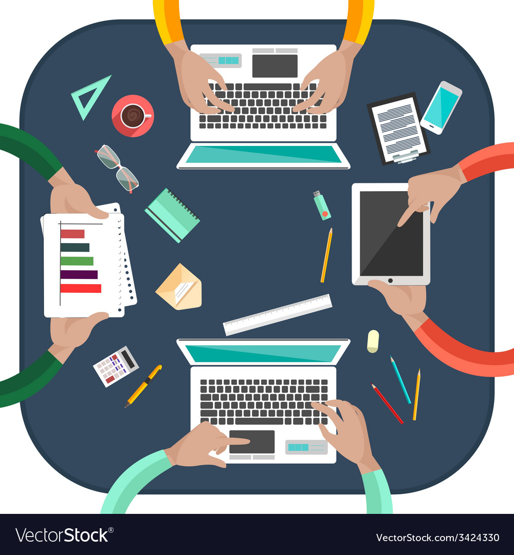 Working process of business team concept vector | Price: 1 Credit (USD $1)