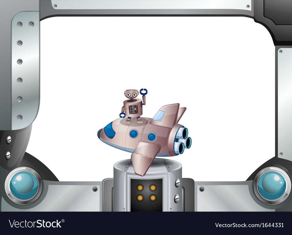 A metal frame with a robot above a spaceship vector | Price: 1 Credit (USD $1)
