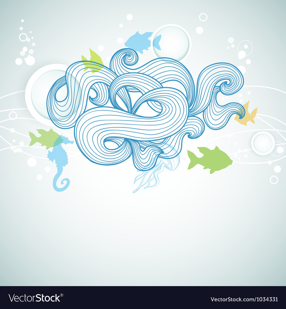 Abstract sea waves and marine life background vector | Price: 1 Credit (USD $1)