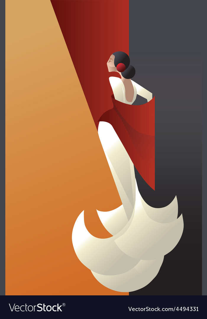 Art deco styled spain flamenco dancer vector | Price: 1 Credit (USD $1)
