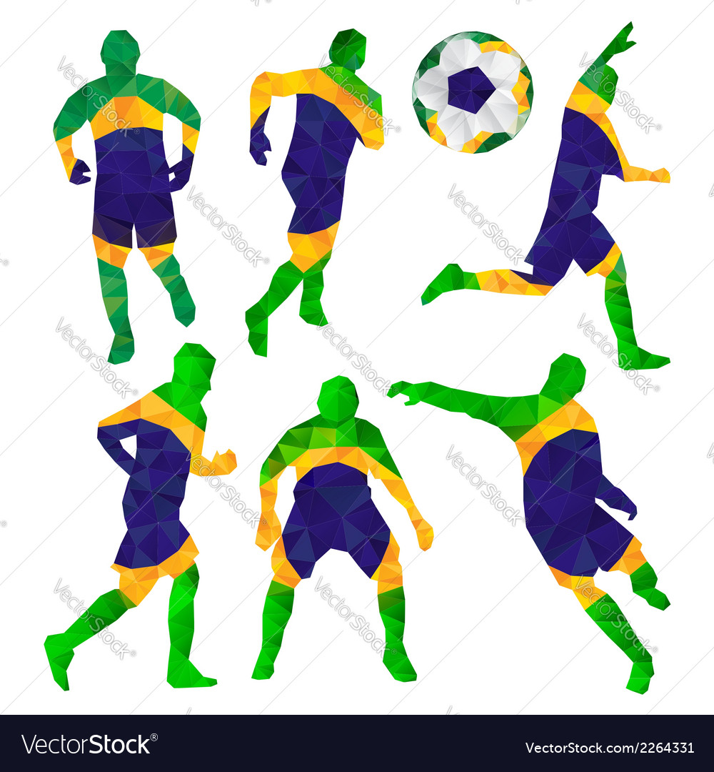 Brazilian football players set with ball in vector | Price: 1 Credit (USD $1)