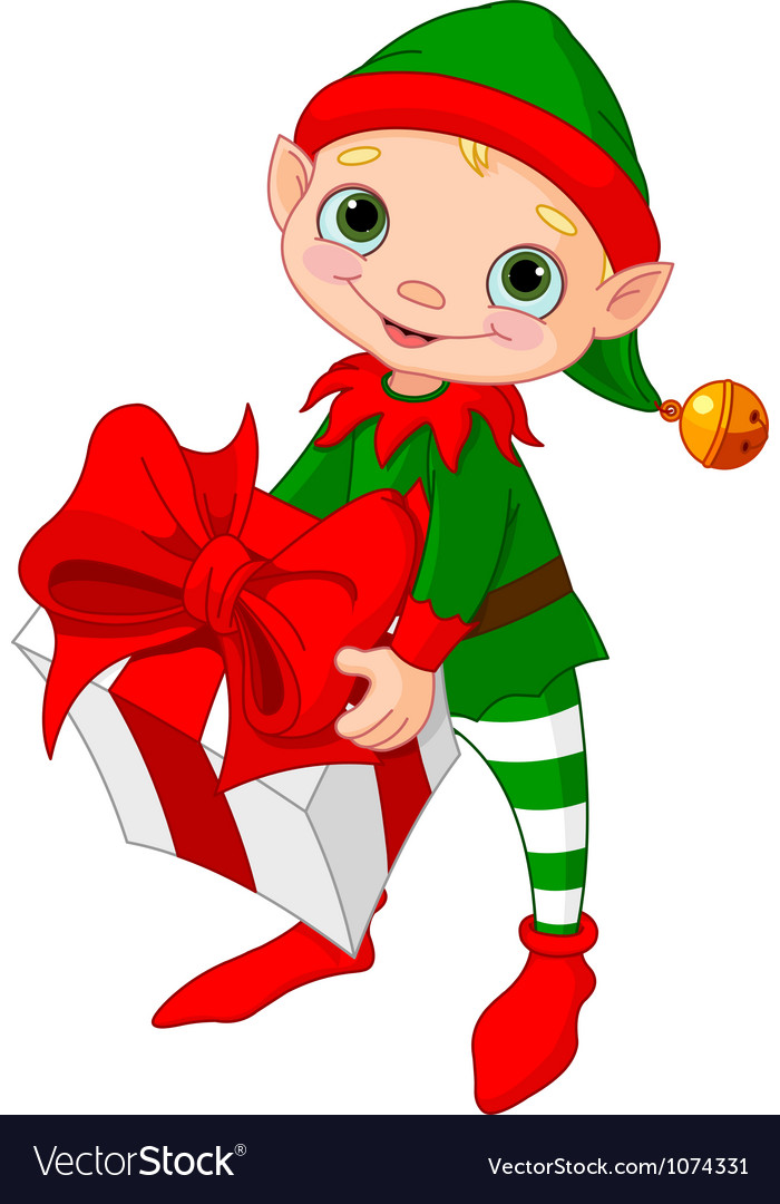 Christmas elf with gift vector | Price: 3 Credit (USD $3)