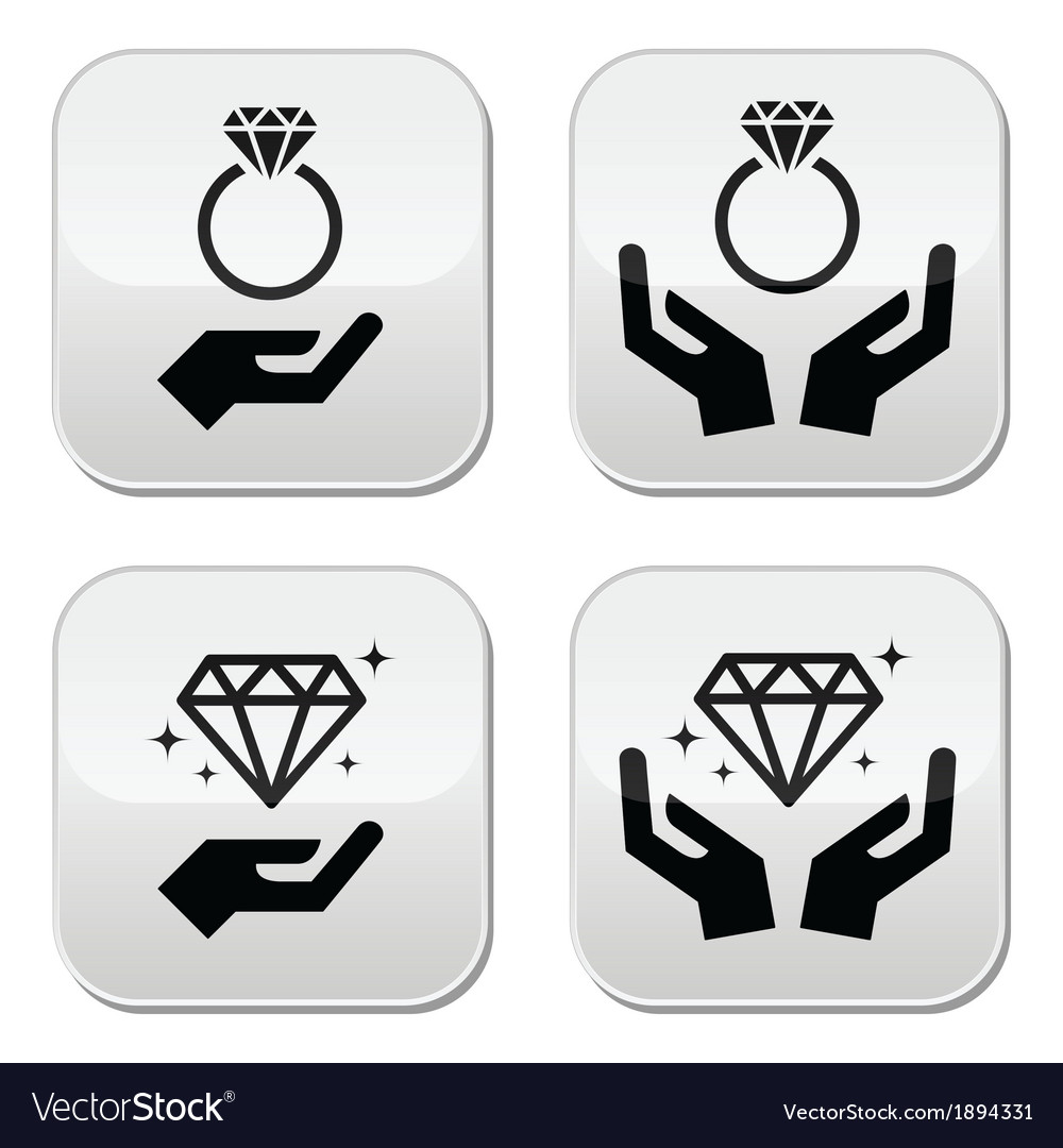 Diamond engagement ring with hands buttons vector | Price: 1 Credit (USD $1)