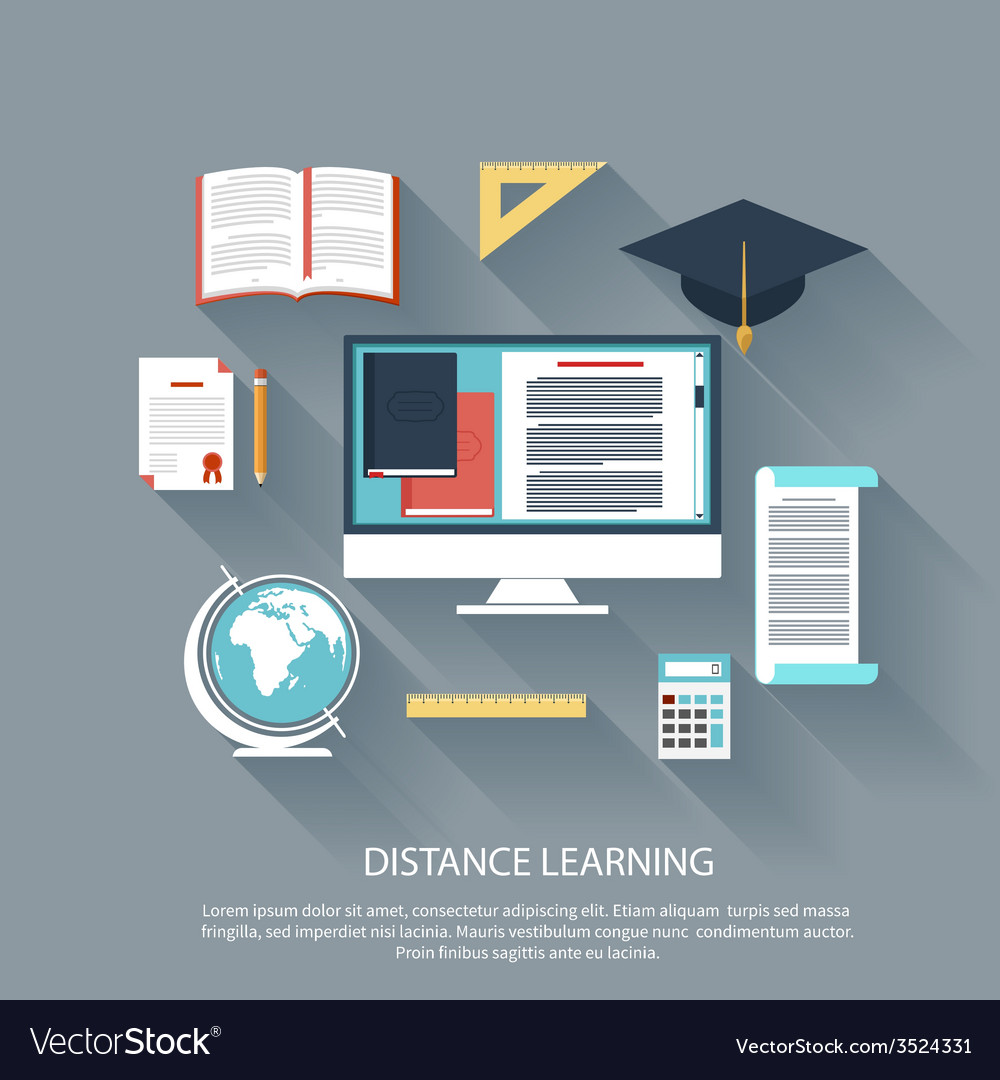 Distance learning with internet services concept vector | Price: 1 Credit (USD $1)
