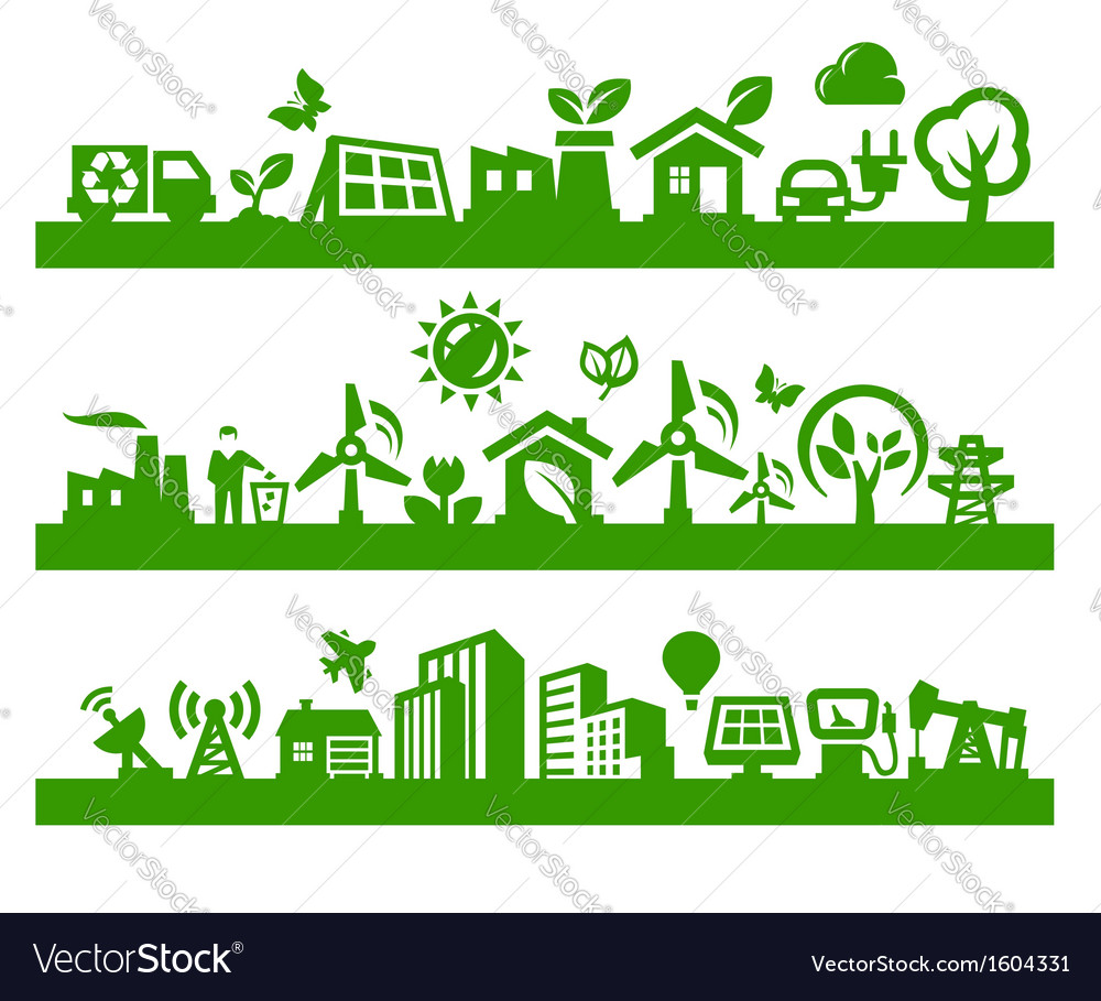 Green city icons vector | Price: 1 Credit (USD $1)