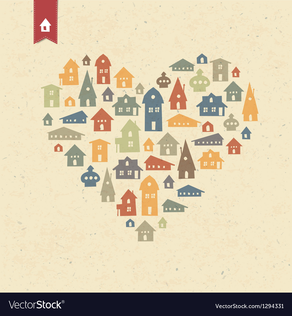 Houses heart shaped vector | Price: 1 Credit (USD $1)