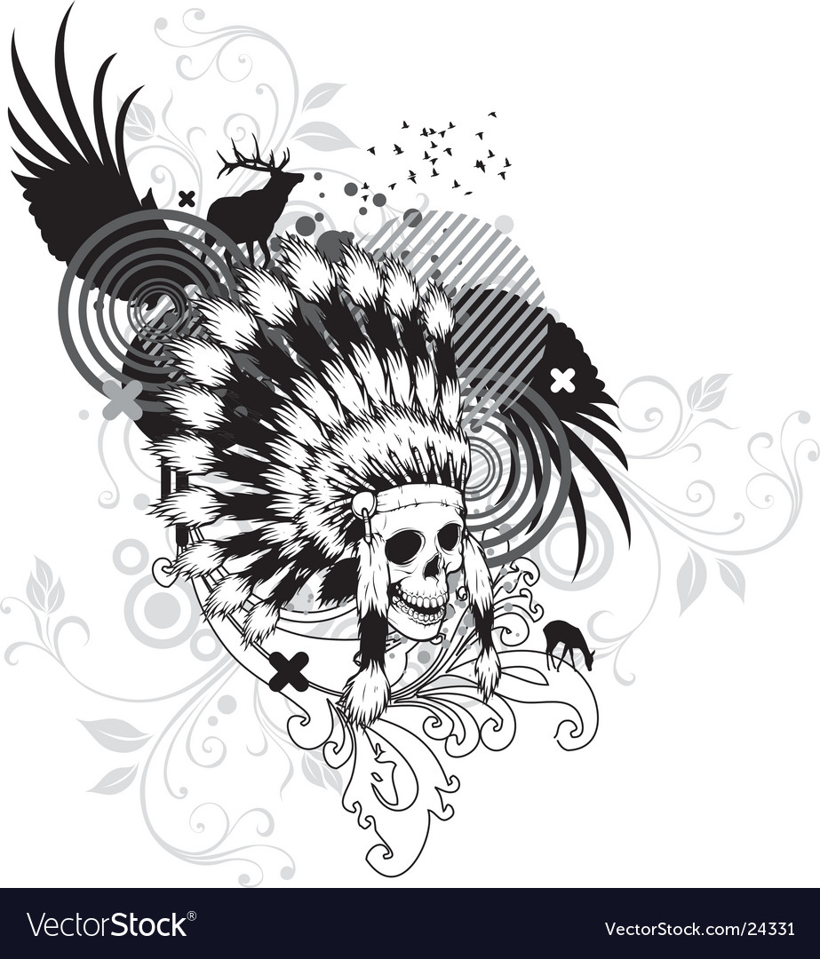 Indian skull vector | Price: 3 Credit (USD $3)