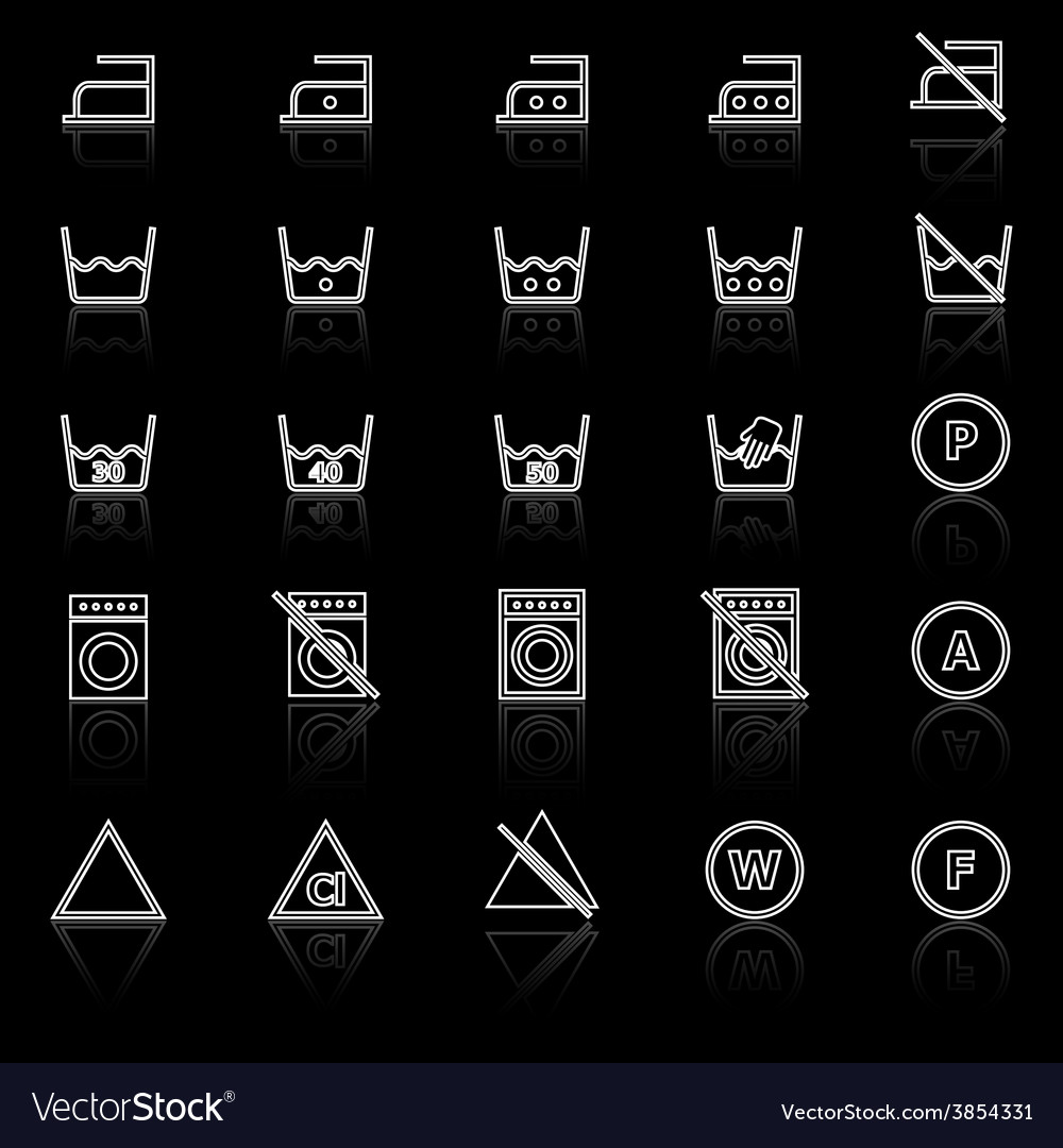 Laundry line icons with reflect on black vector | Price: 1 Credit (USD $1)