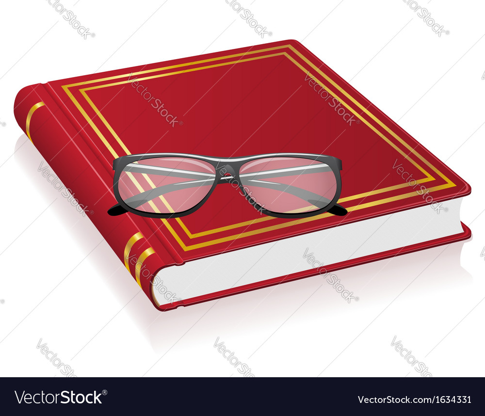 Red book and glasses vector | Price: 1 Credit (USD $1)