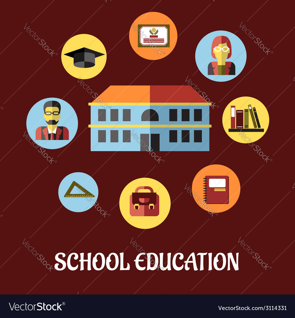 School education flat design vector | Price: 1 Credit (USD $1)