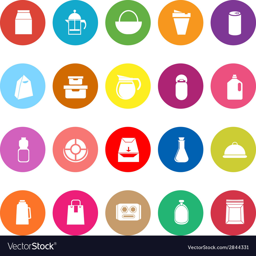 Variety food package flat icons on white vector | Price: 1 Credit (USD $1)