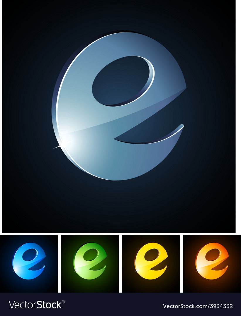 3d vibrant e emblems vector | Price: 1 Credit (USD $1)