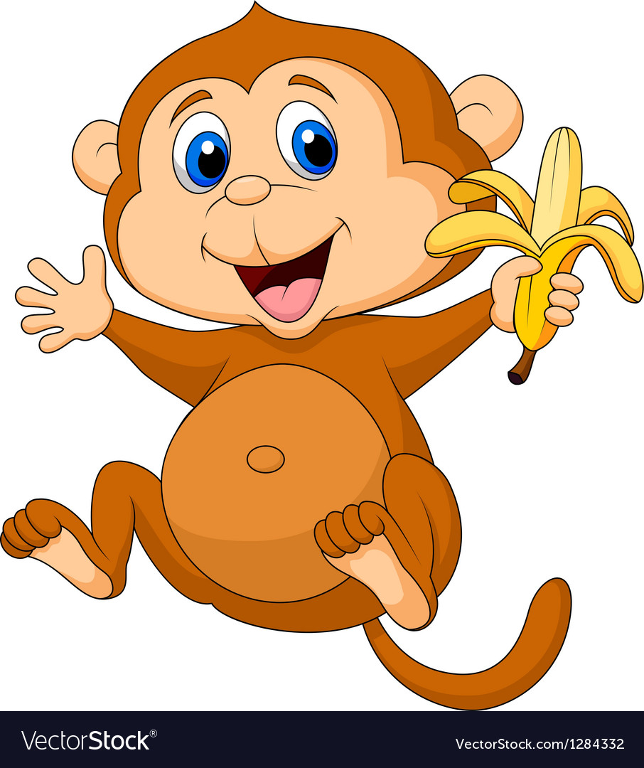 Cute monkey cartoon eating banana vector | Price: 3 Credit (USD $3)