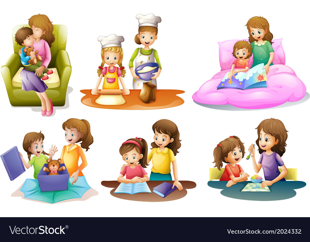 Different activities of a mother and a child vector | Price: 3 Credit (USD $3)