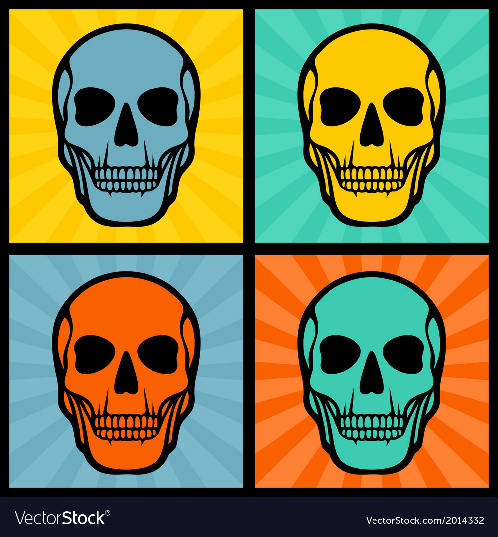Four with skulls on pop art background vector | Price: 1 Credit (USD $1)
