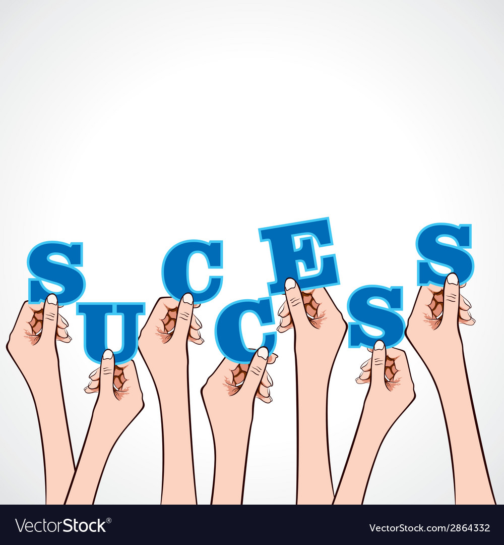 Success word in hand vector | Price: 1 Credit (USD $1)