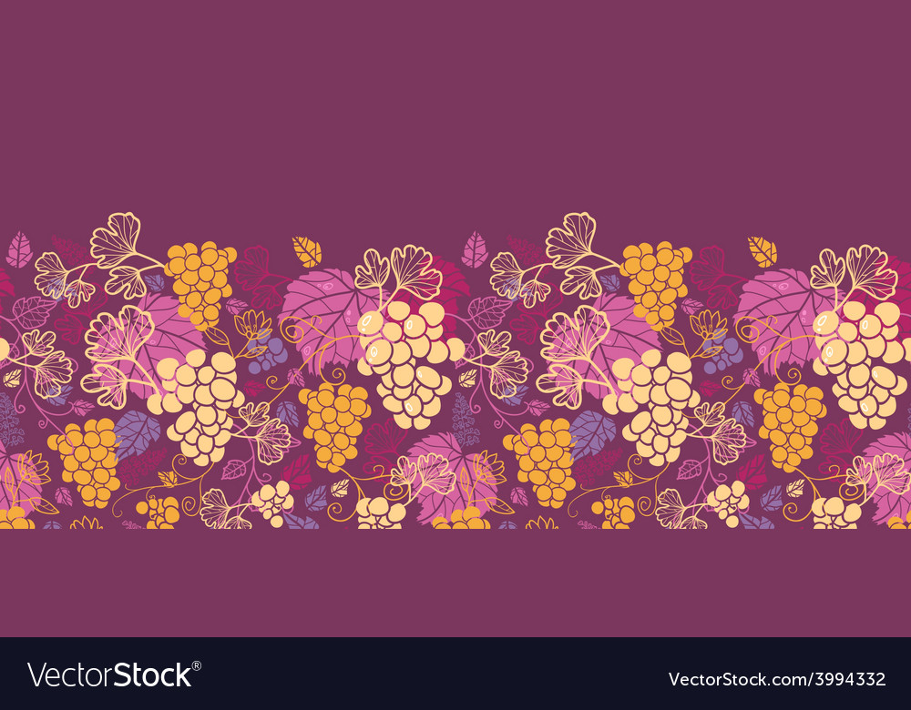 Sweet grape vines horizontal seamless pattern vector | Price: 1 Credit (USD $1)