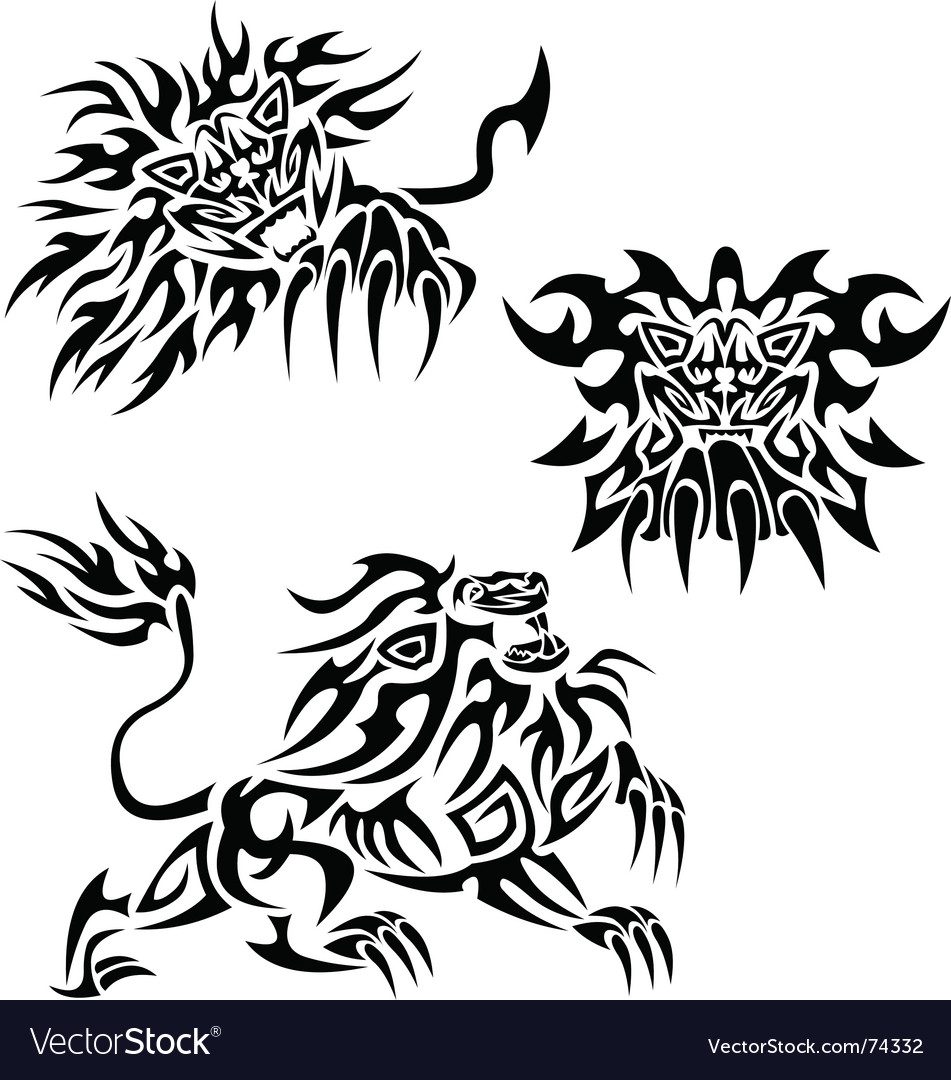 Tribal lions vector