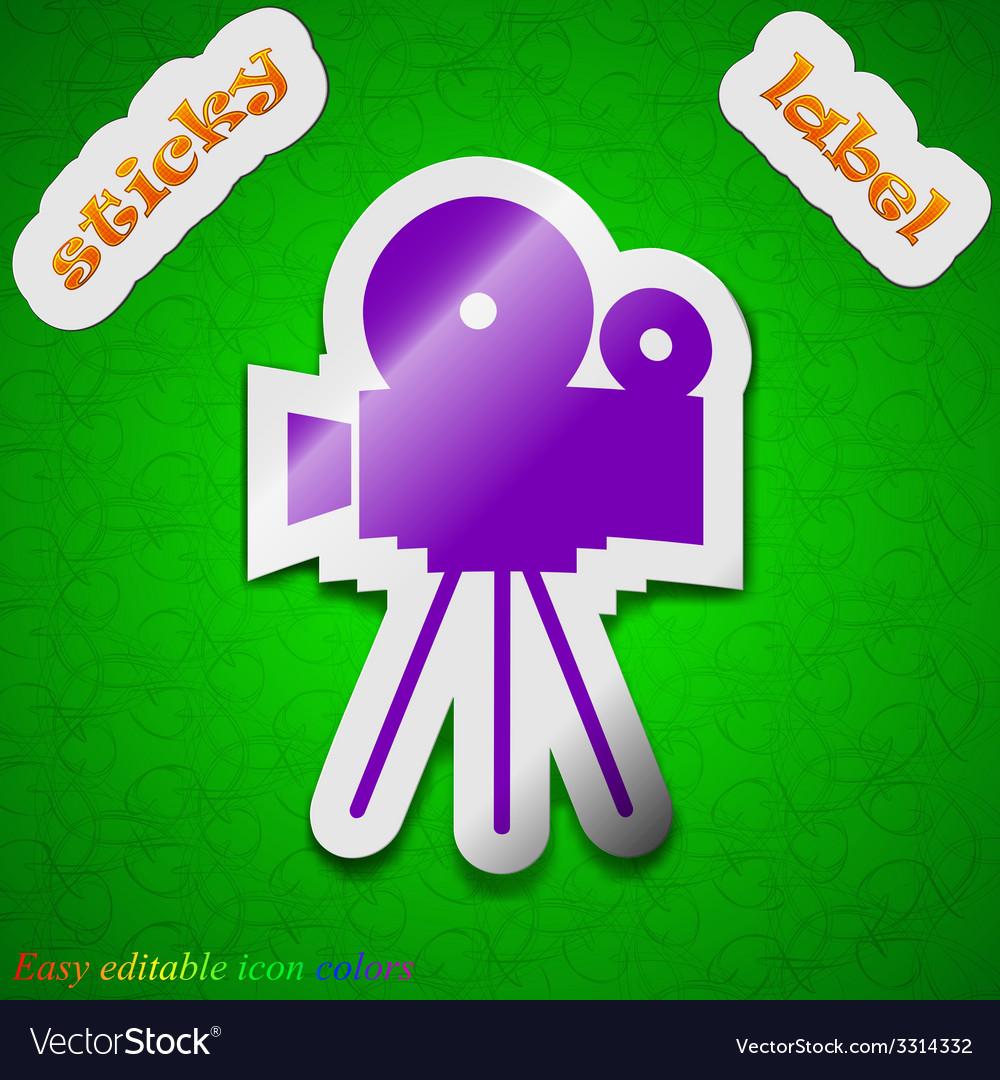Video camera icon sign symbol chic colored sticky vector   Price: 1 Credit (USD $1)