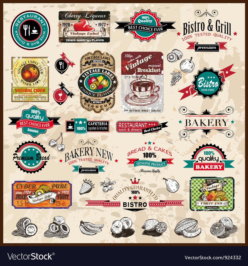 Vintage restaurant icons vector | Price: 3 Credit (USD $3)