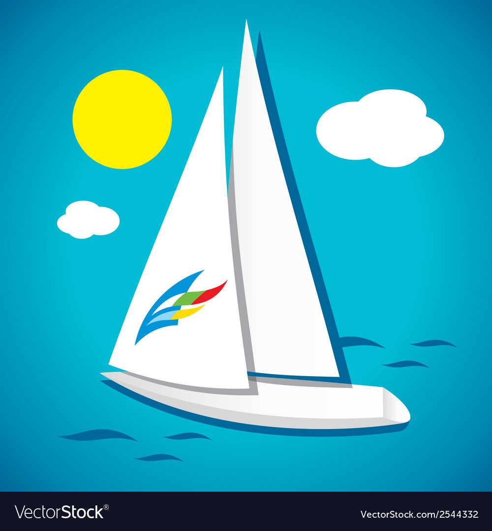 White yacht in the sea vector | Price: 1 Credit (USD $1)