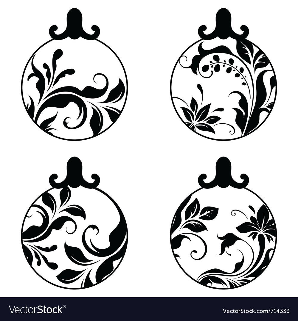 Black and white xmas balls vector | Price: 1 Credit (USD $1)