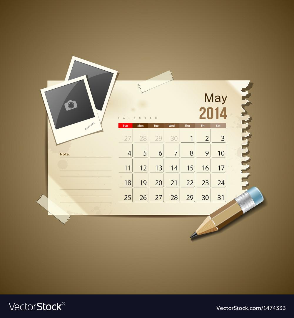 Calendar may 2014 vector | Price: 1 Credit (USD $1)