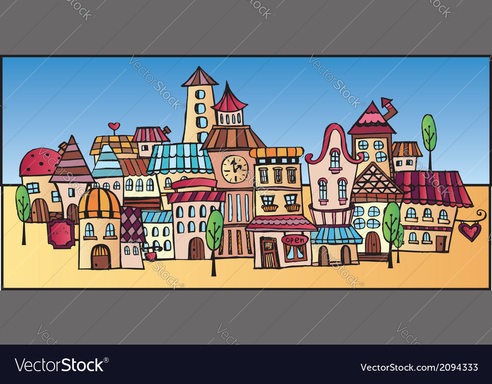 Cartoon drawing town vector | Price: 1 Credit (USD $1)