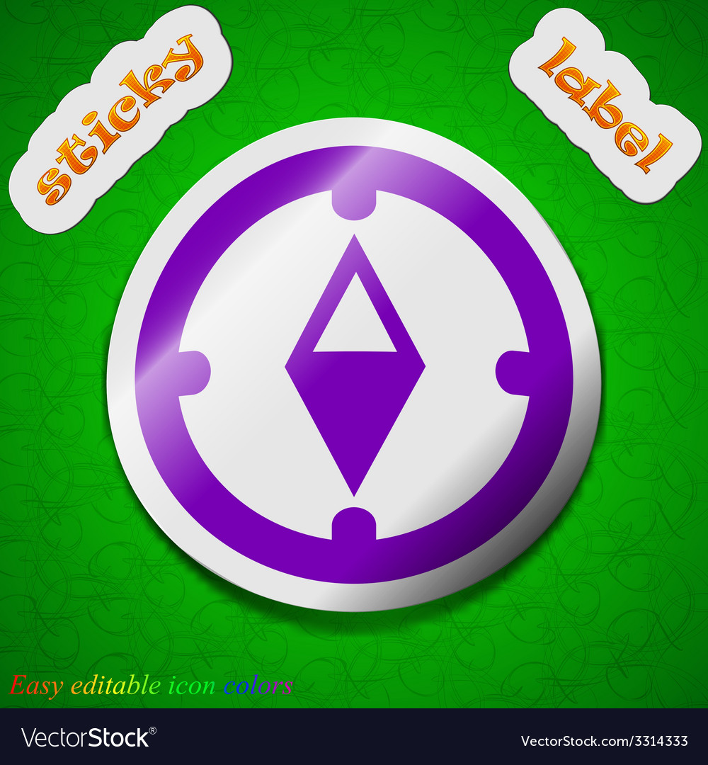 Compass icon sign symbol chic colored sticky label vector | Price: 1 Credit (USD $1)