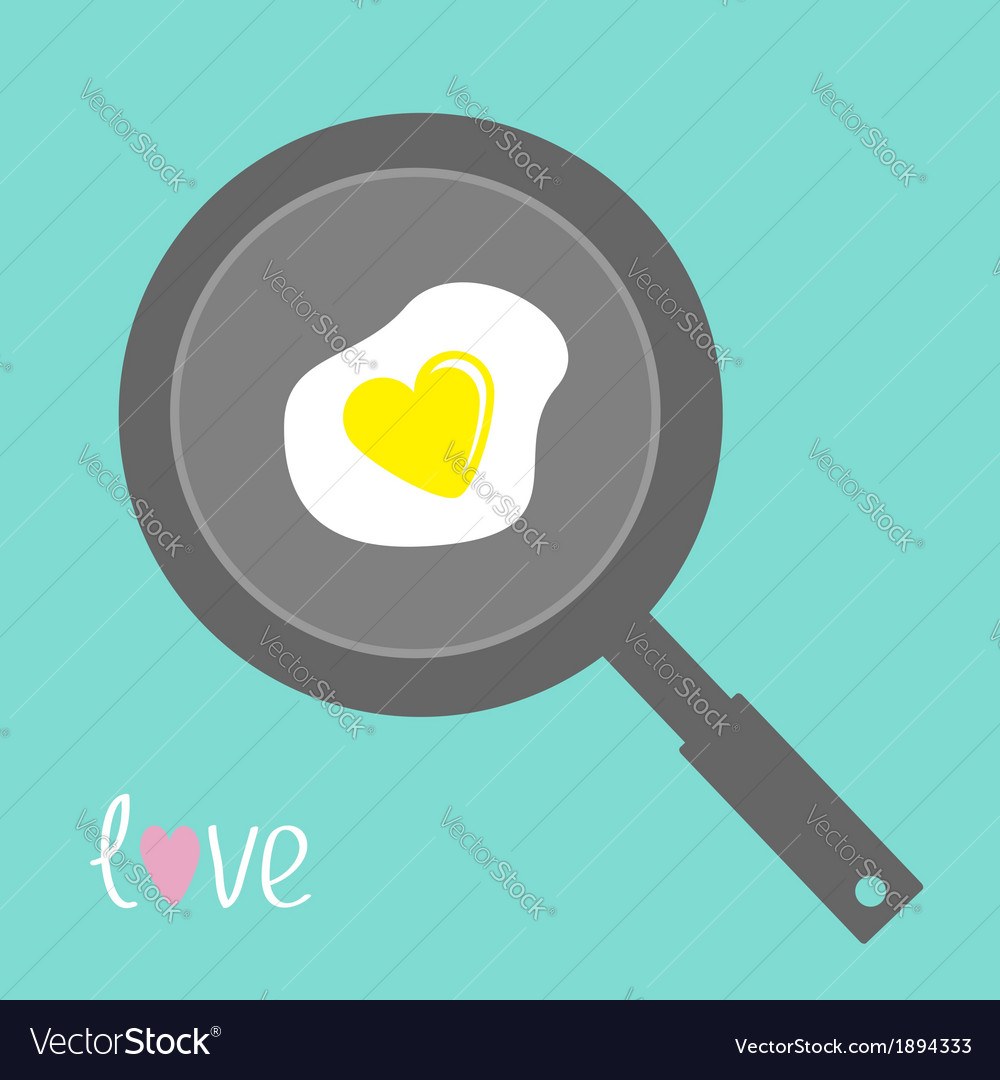 Egg in shape of heart on the frying pan vector | Price: 1 Credit (USD $1)