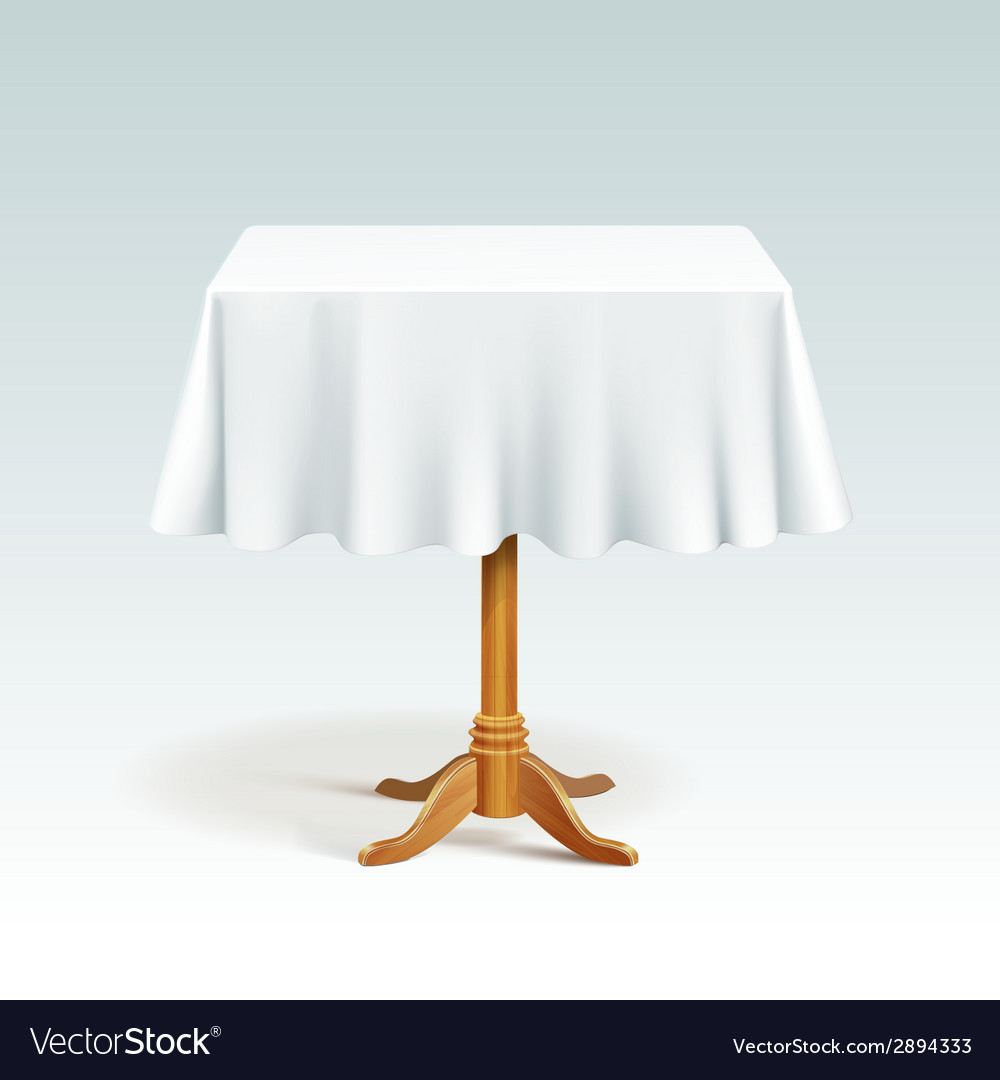 Empty square wood table with tablecloth vector | Price: 1 Credit (USD $1)