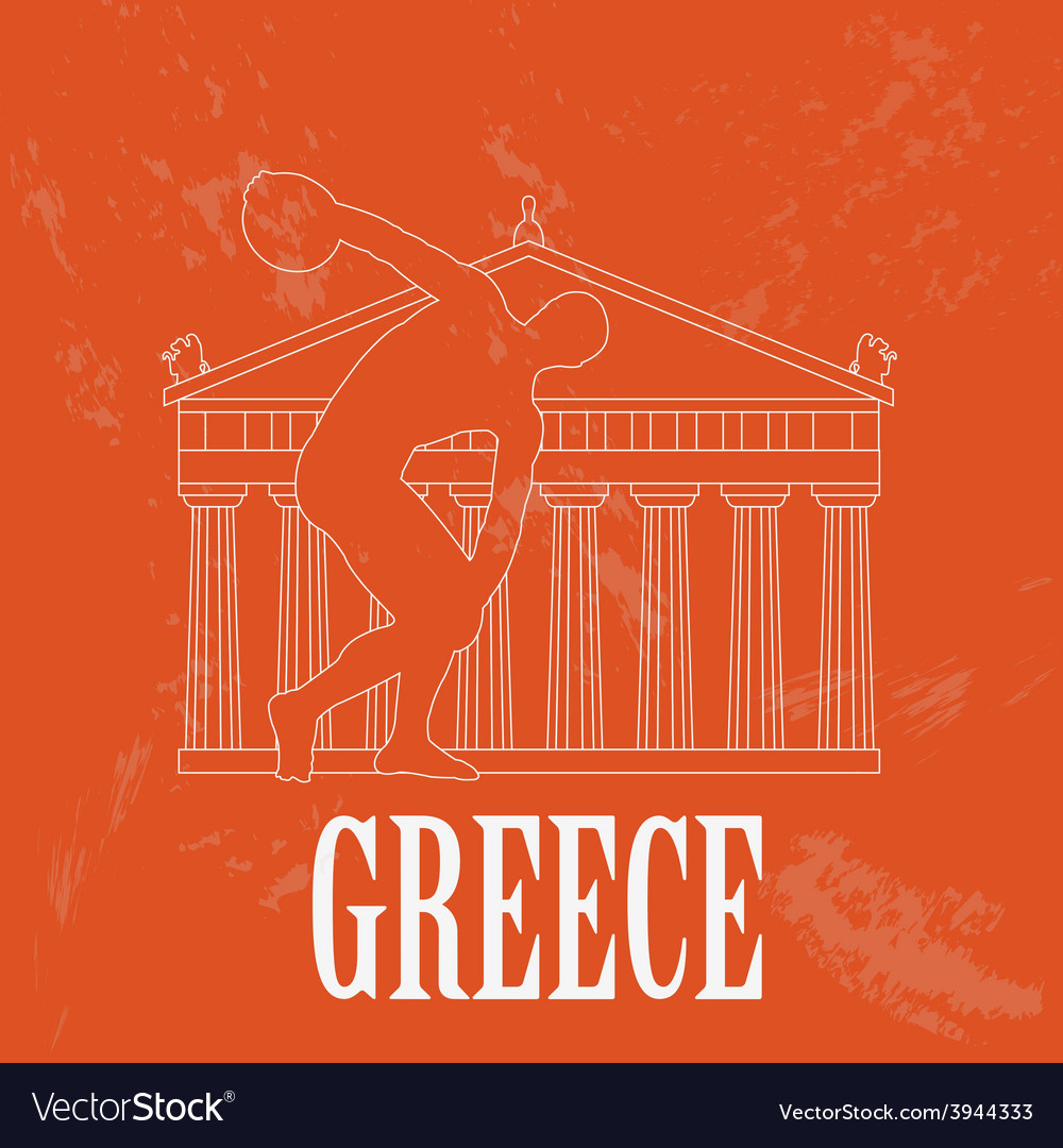 Greece landmarks retro styled image vector | Price: 1 Credit (USD $1)