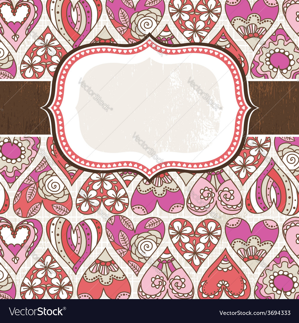 Label on background with valentines hearts vector | Price: 1 Credit (USD $1)